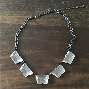 J.Crew Crystal Glass Statement Necklace on Black